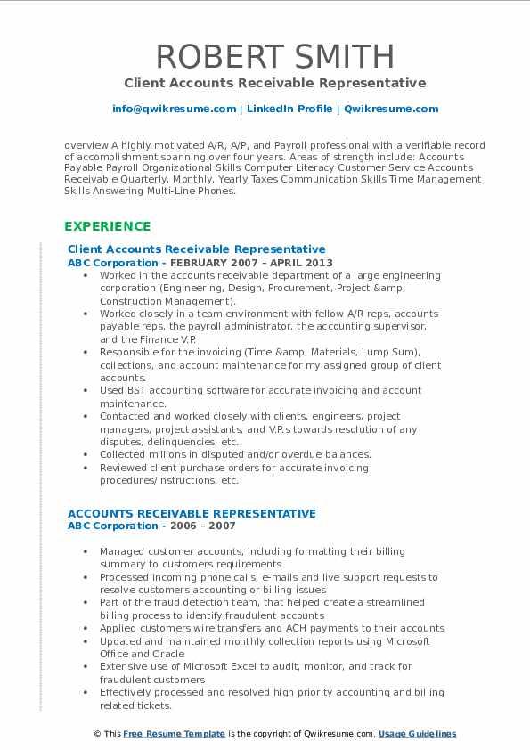 Client Accounts Receivable Representative Resume Sample