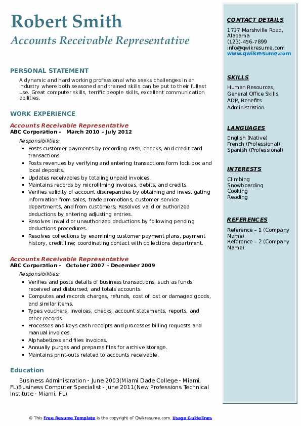 accounts receivable representative resume samples