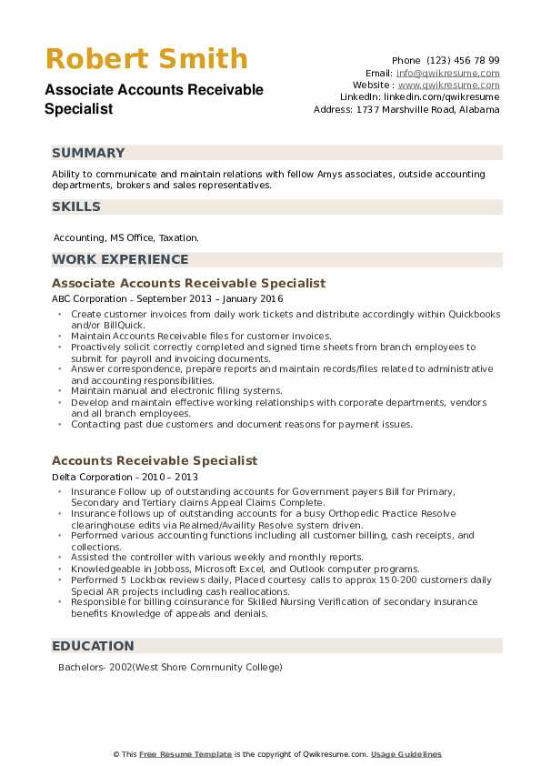 accounts receivable specialist resume samples