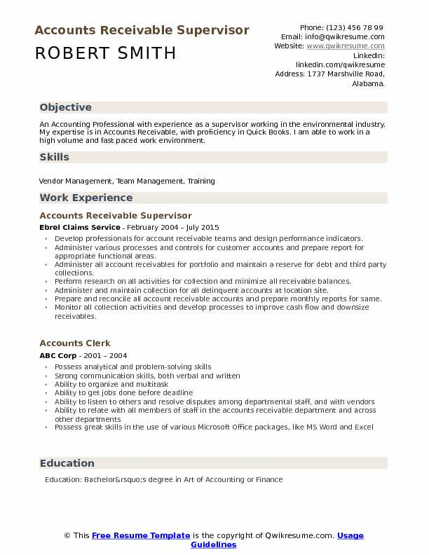 Accounts Receivable Supervisor Resume Samples | QwikResume