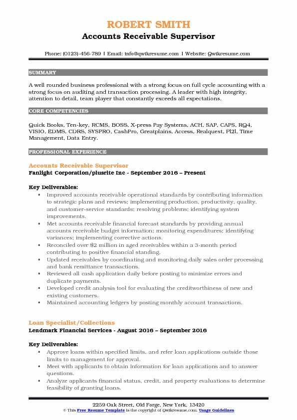 accounts receivable supervisor resume samples