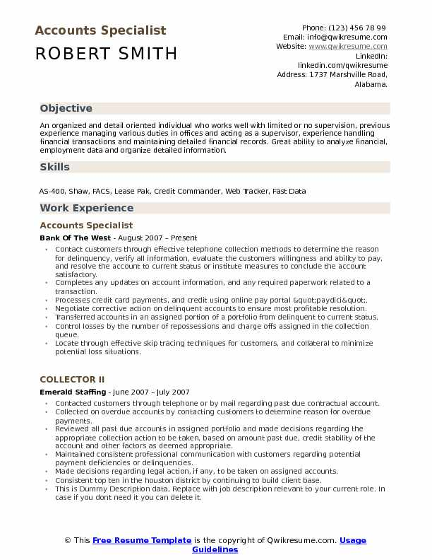 Accounts Specialist Resume Format