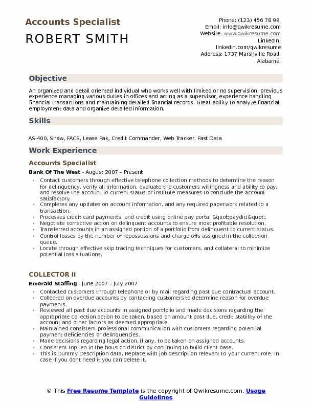 Accounts Specialist Resume Model