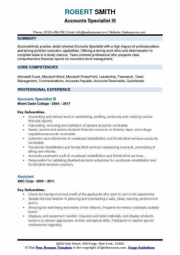 Accounts Specialist III Resume Example