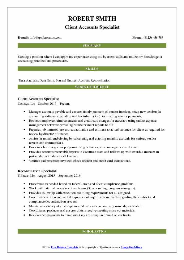 Client Accounts Specialist Resume Model