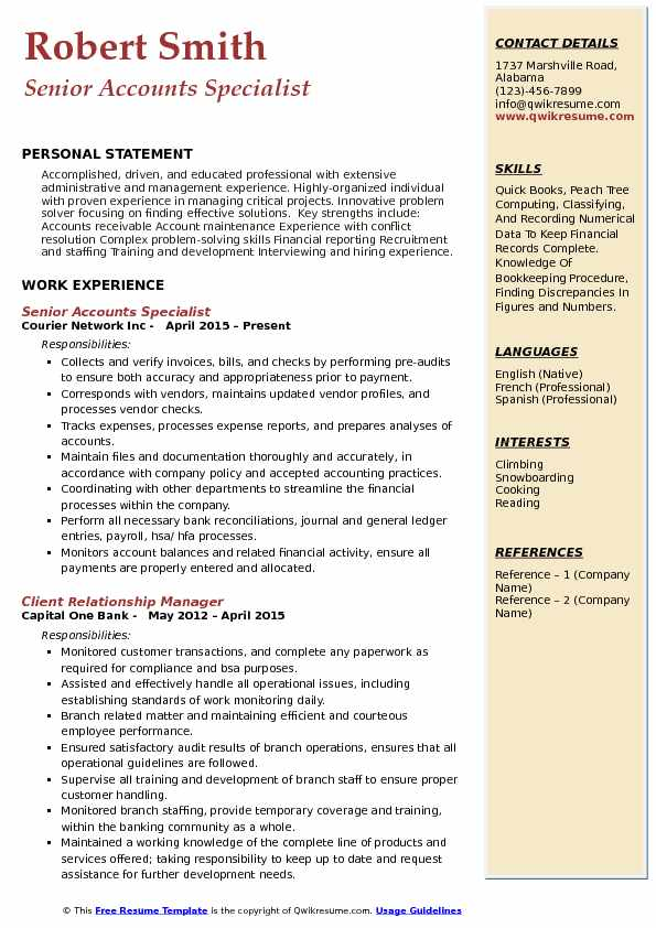 Accounts Specialist Resume Samples | QwikResume