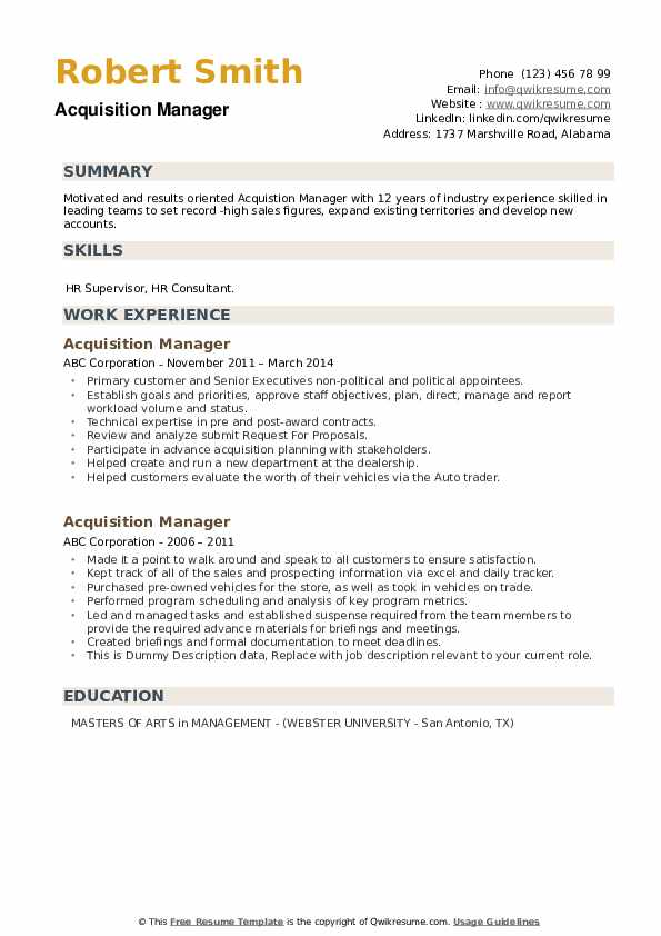 Acquisition Manager Resume example