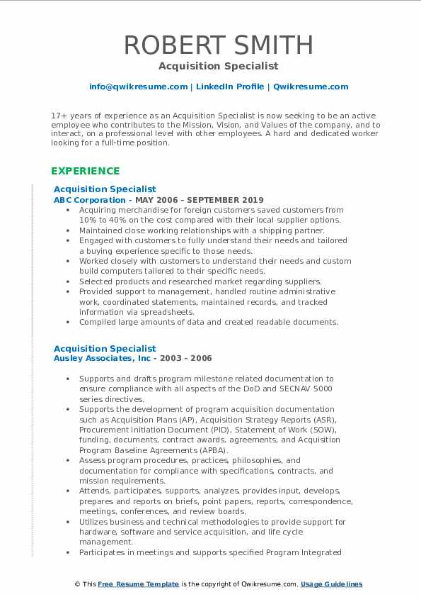 Acquisition Specialist Resume example