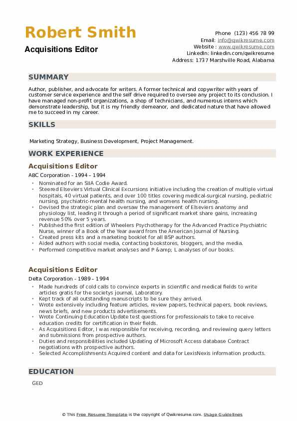Acquisitions Editor Resume example