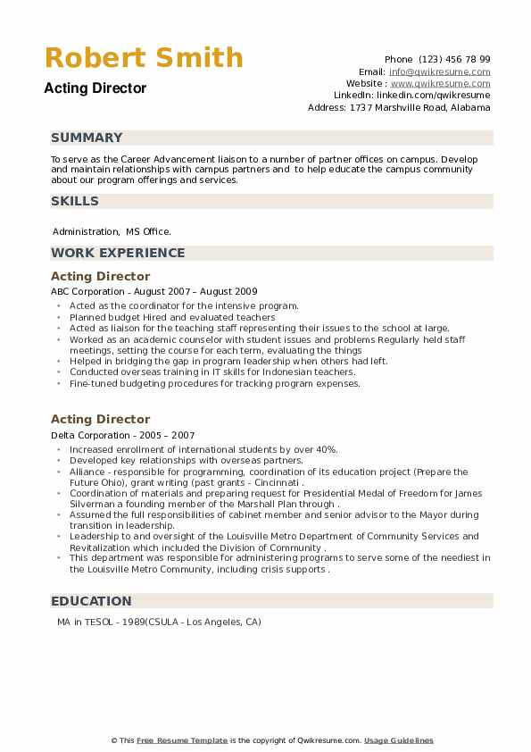 Acting Director Resume example