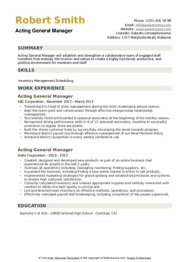 Acting General Manager Resume example