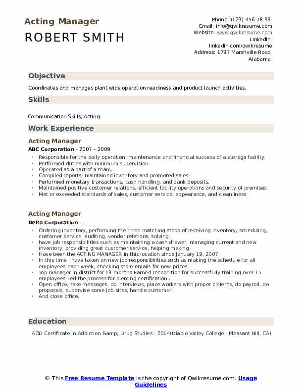 Acting Cv Template from assets.qwikresume.com