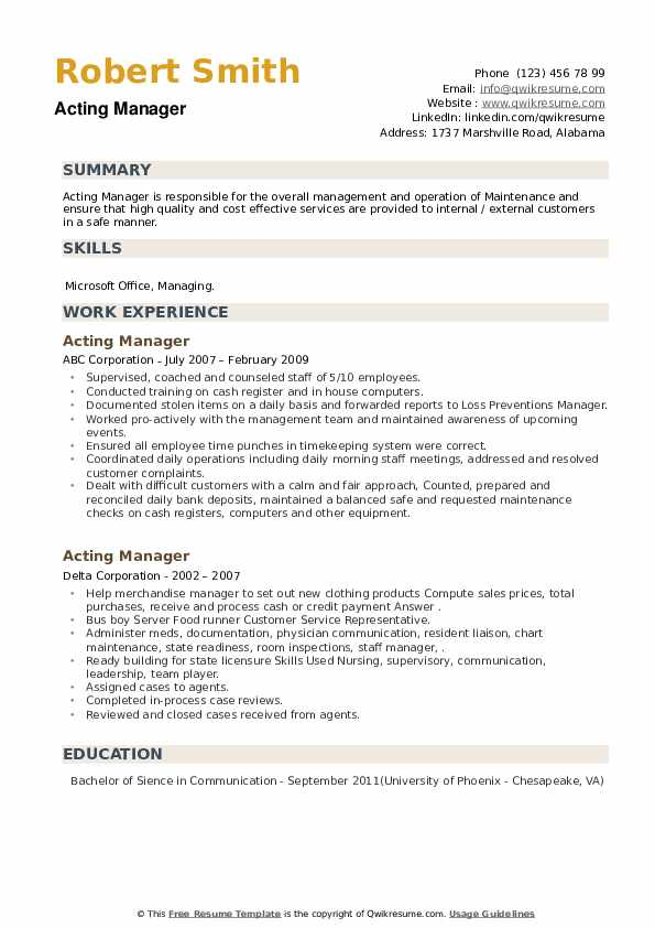 Acting Manager Resume example