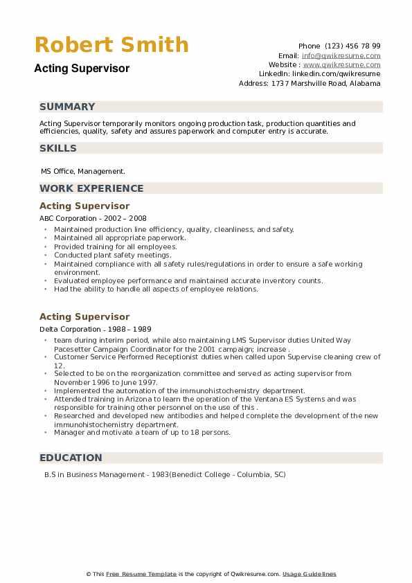 Acting Supervisor Resume example