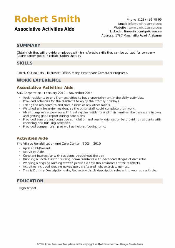 Activities Aide Resume example