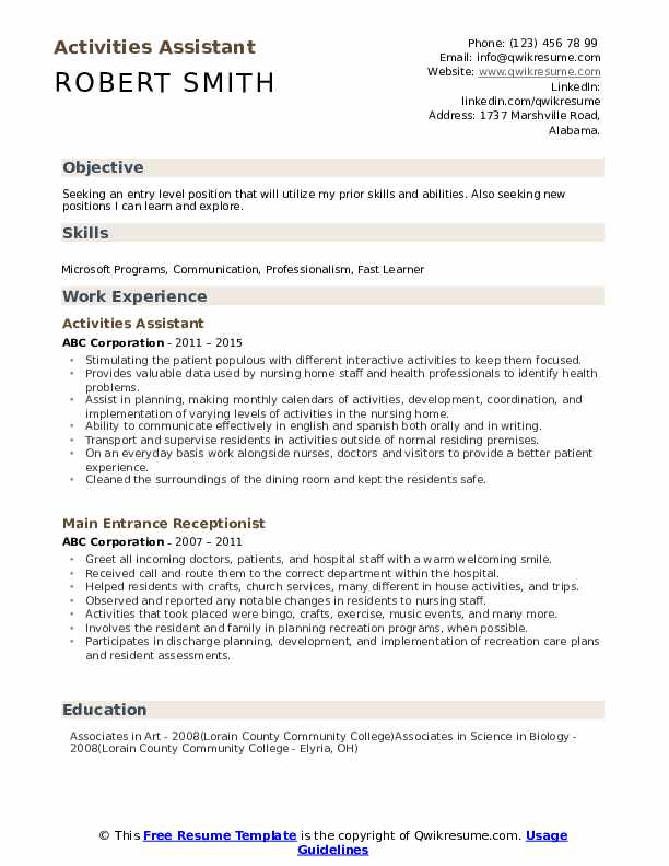 Activities Assistant Resume Format