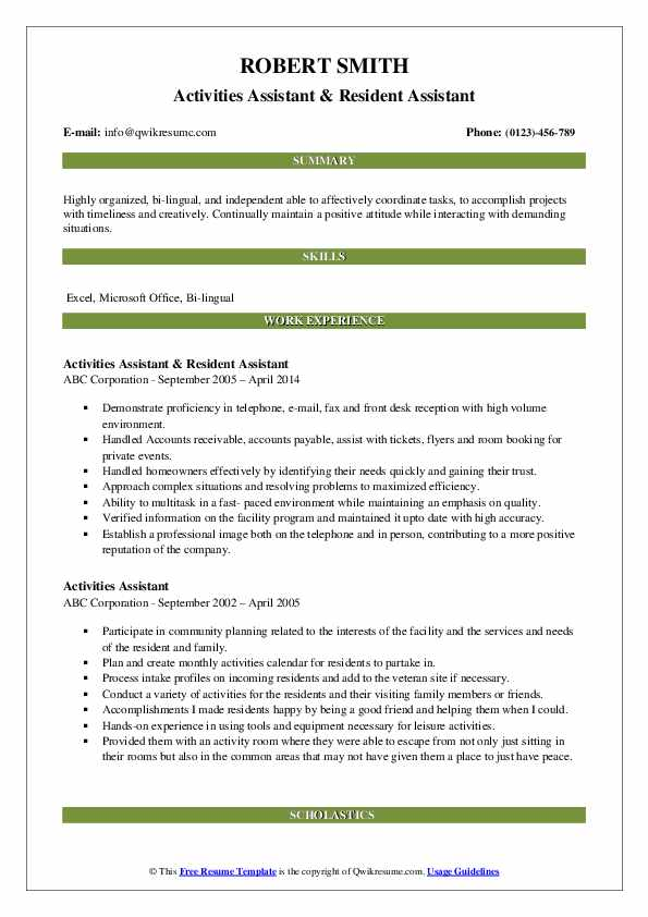 Activities Assistant & Resident Assistant Resume Sample