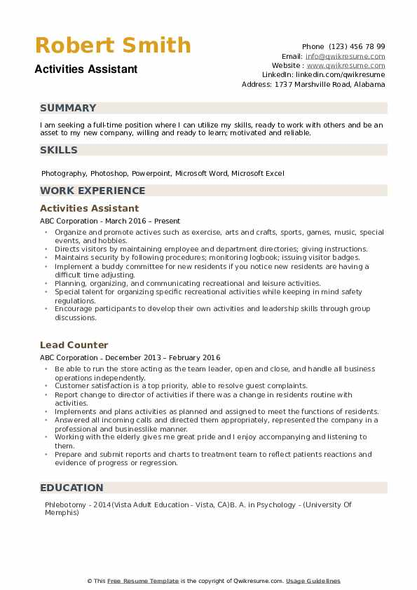 Activities Assistant Resume Model