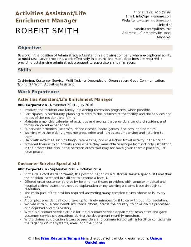 Activities Assistant Resume example
