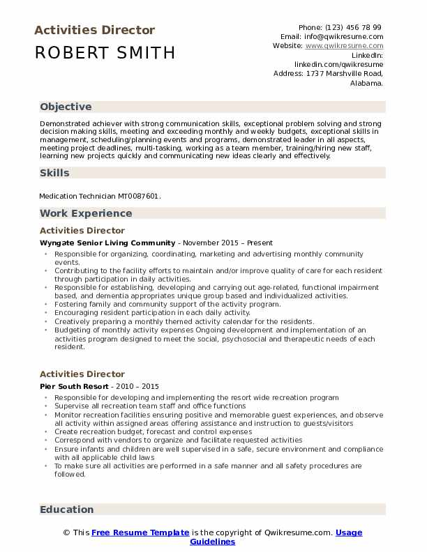 Activities Director Resume Example