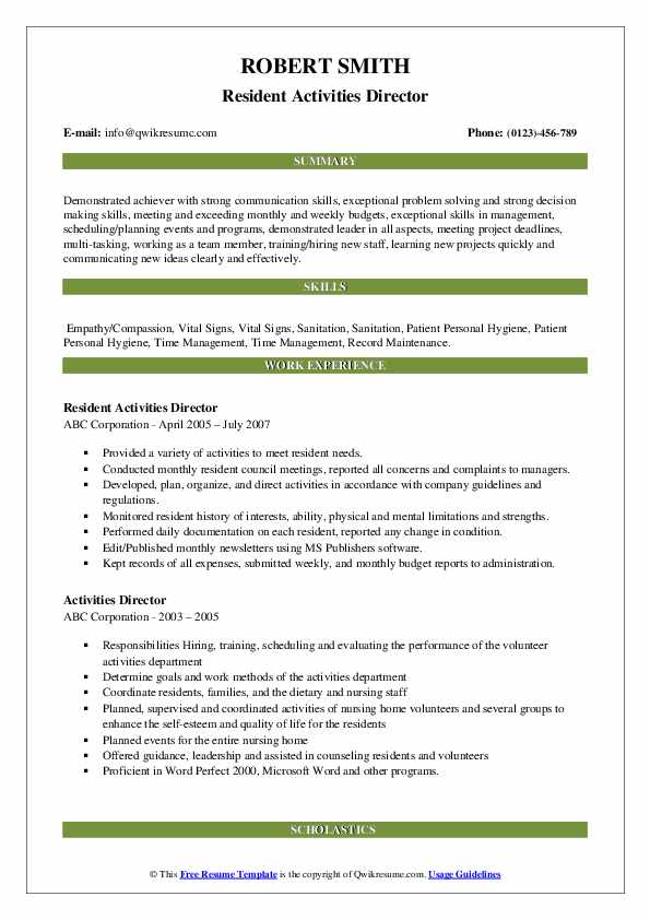 Resident Activities Director Resume Sample