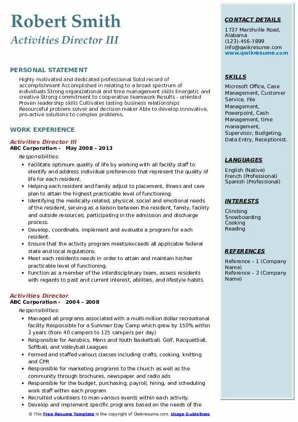 Activities Director III Resume Sample