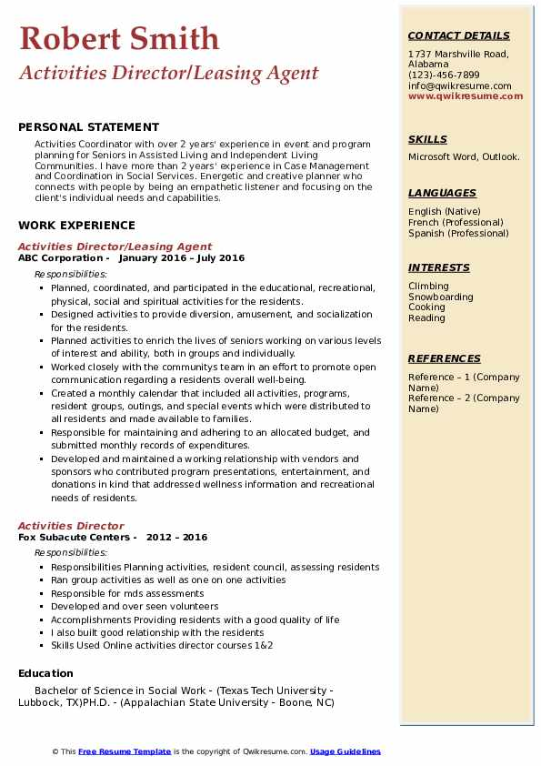 Activities Director/Leasing Agent Resume Template