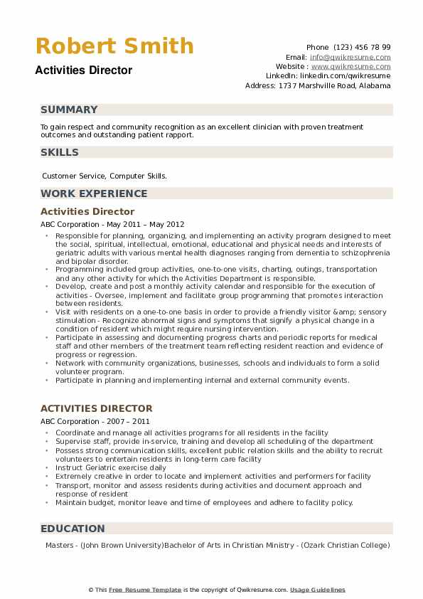 Activities Director Resume Template