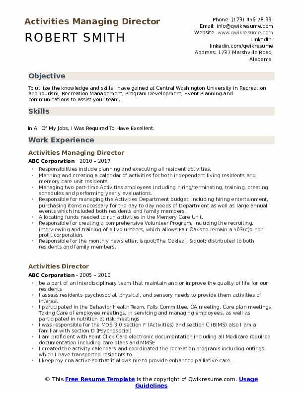 Activities Managing Director Resume Template