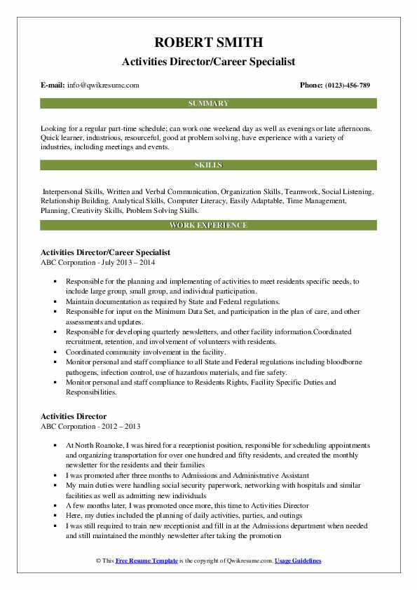 Activities Director/Career Specialist Resume Example