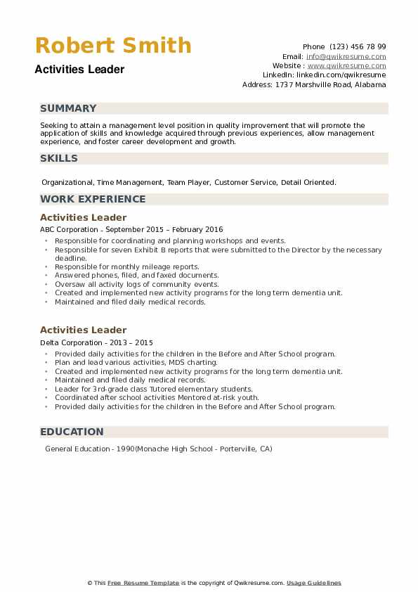 Activities Leader Resume example