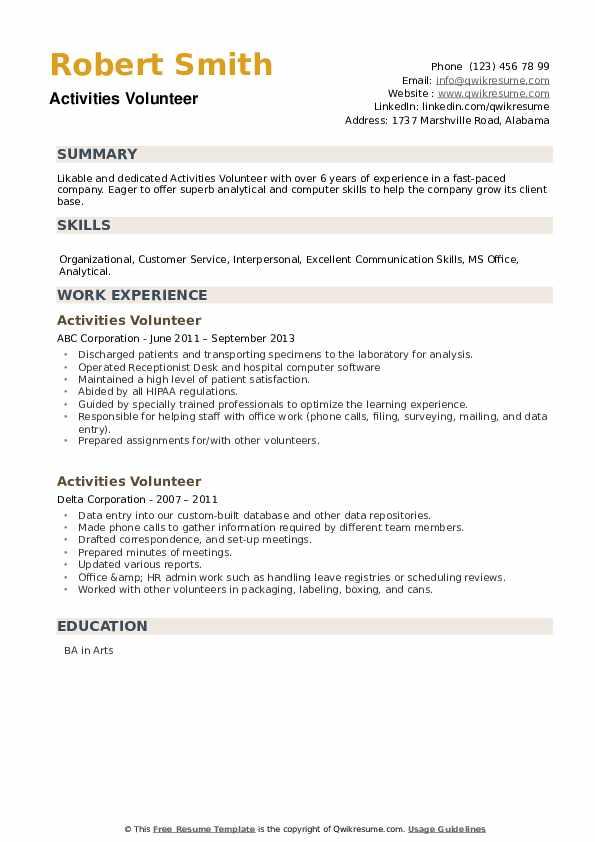 Activities Volunteer Resume example