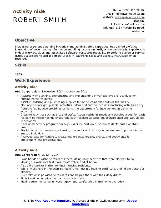 Activity Aide Resume Sample