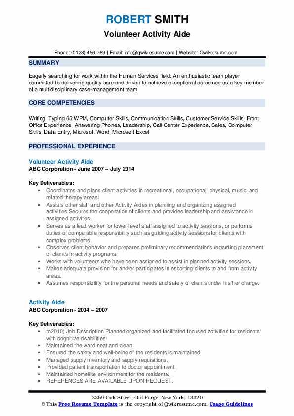 Volunteer Activity Aide Resume Model