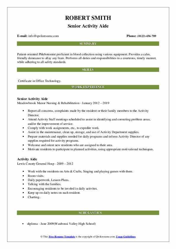 Senior Activity Aide Resume Template