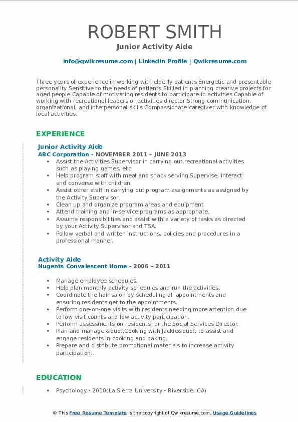 Junior Activity Aide Resume Template