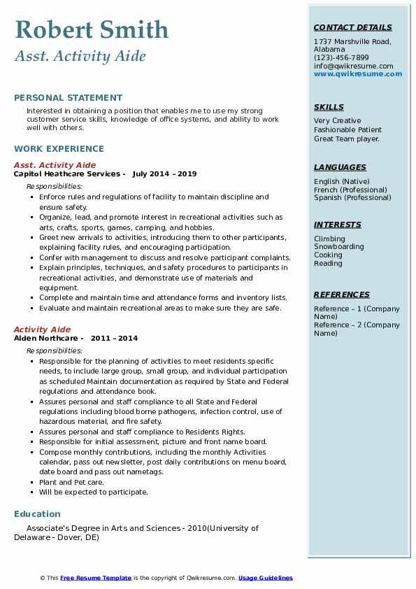 Asst. Activity Aide Resume Sample
