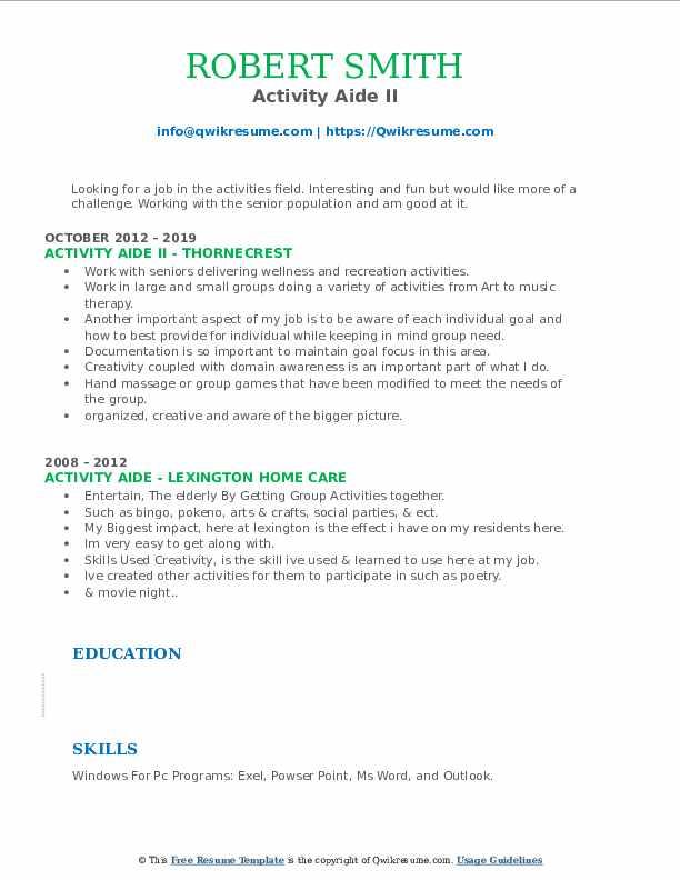 Activity Aide II Resume Example