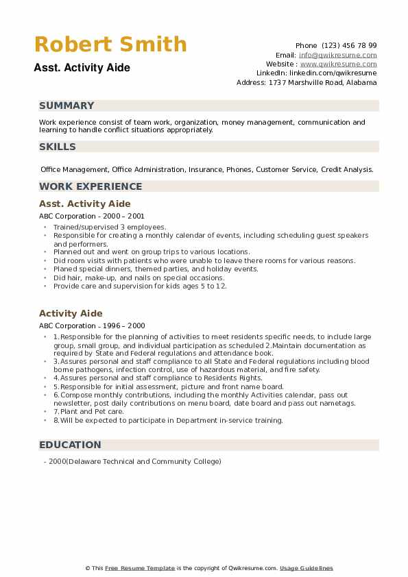 Asst. Activity Aide Resume Example