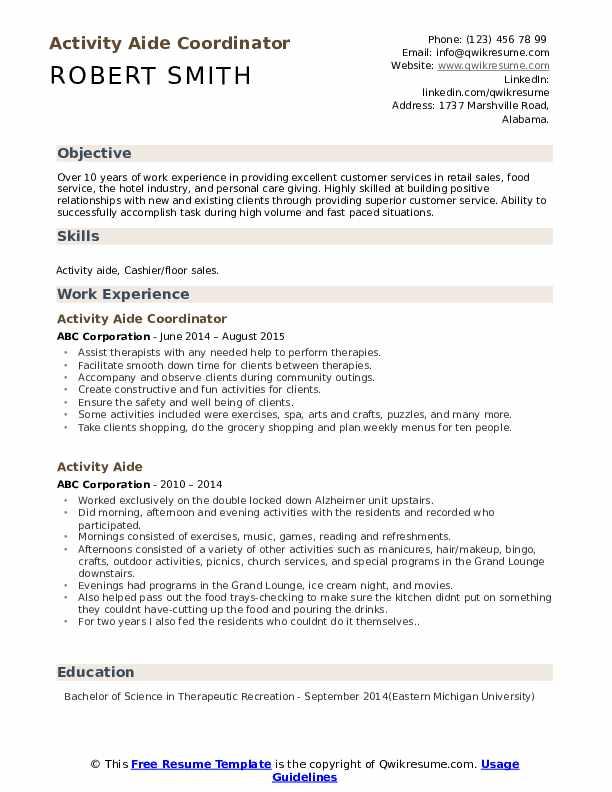 Activity Aide Coordinator Resume Format