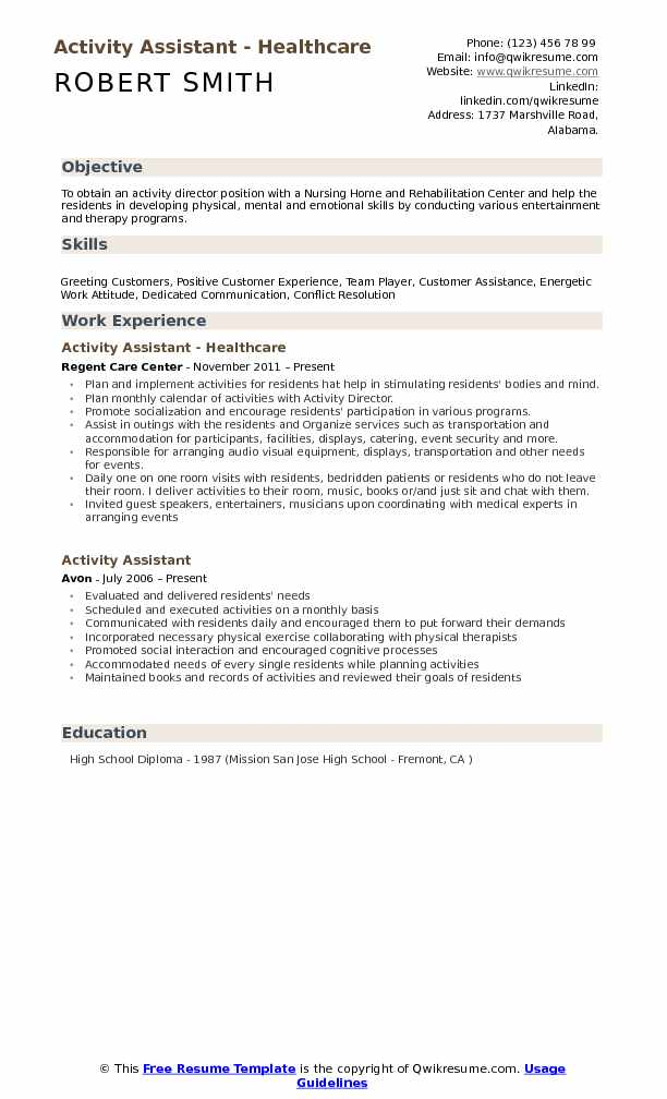 Activity Assistant Resume Samples | QwikResume