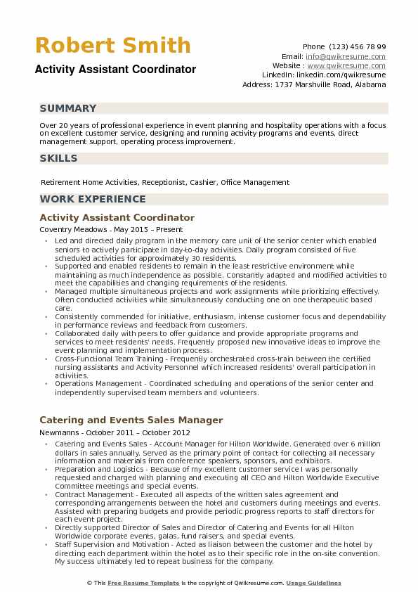 activity assistant resume samples