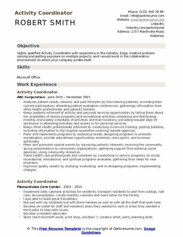Activity Coordinator Resume Sample