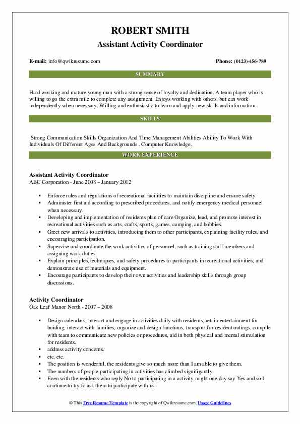 Assistant Activity Coordinator Resume Example