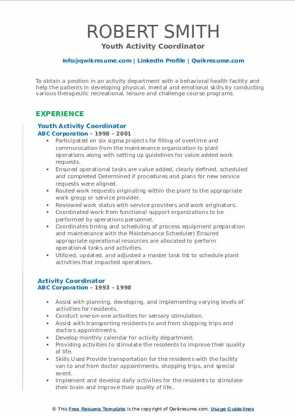 Youth Activity Coordinator Resume Template