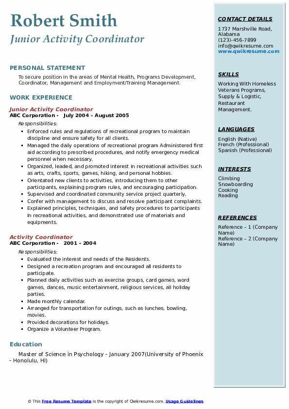 Junior Activity Coordinator Resume Sample
