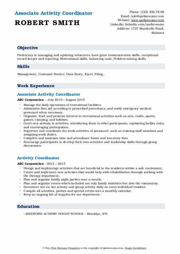 Associate Activity Coordinator Resume Example