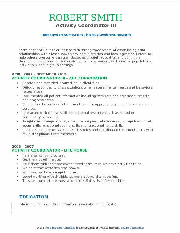 Activity Coordinator III Resume Example