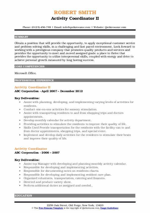 Activity Coordinator II Resume Example