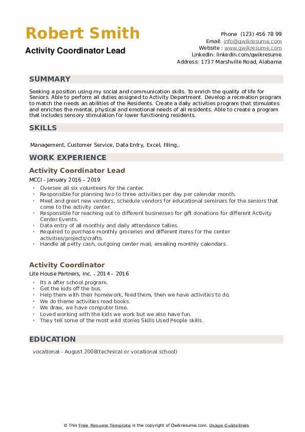 Activity Coordinator Lead Resume Template